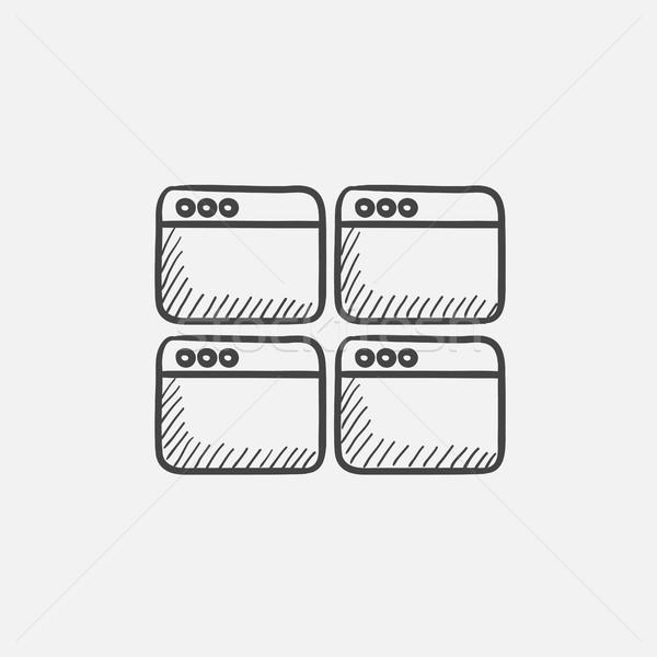 Kinyitott böngésző ablakok rajz ikon háló Stock fotó © RAStudio