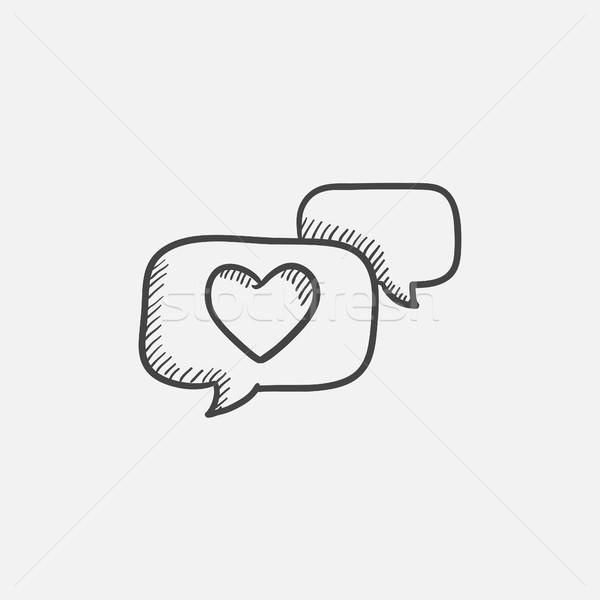 сердце речи пузырь эскиз икона веб мобильных Сток-фото © RAStudio