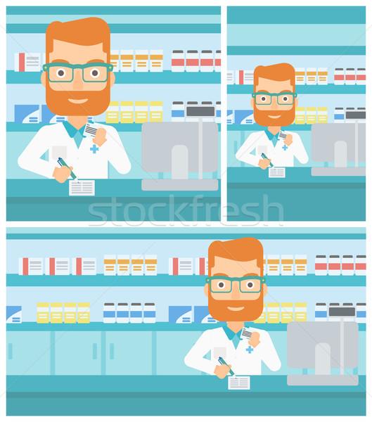 Pharmacist writing prescription. Stock photo © RAStudio