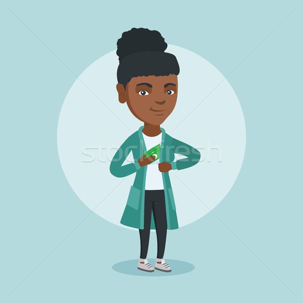 молодые африканских исполнительного сокрытие кармана куртка Сток-фото © RAStudio
