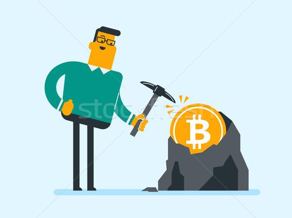 Caucasian man with pickaxe working in bitcoin mine Stock photo © RAStudio