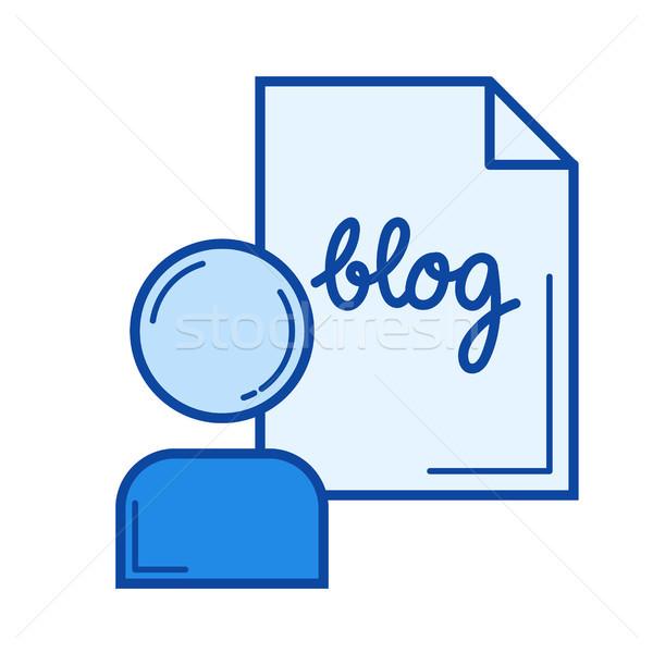 Blogger line ikona wektora odizolowany biały Zdjęcia stock © RAStudio