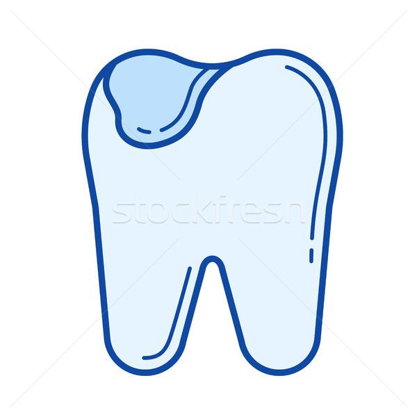 Tooth caries line icon. Stock photo © RAStudio