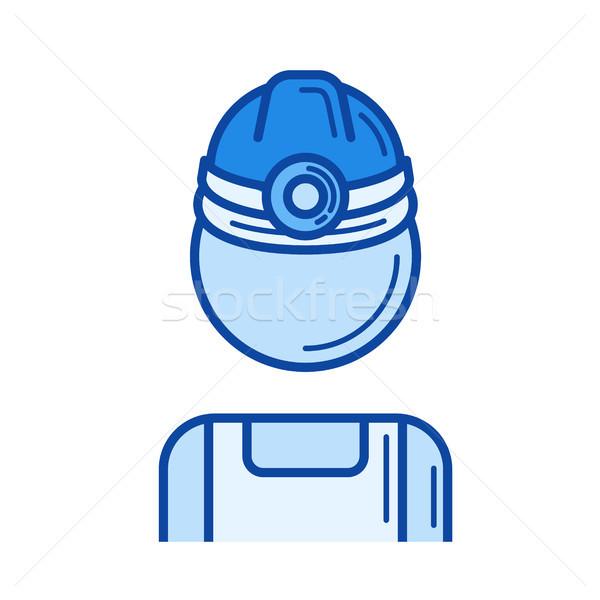 Mine lavoratore line icona vettore isolato Foto d'archivio © RAStudio