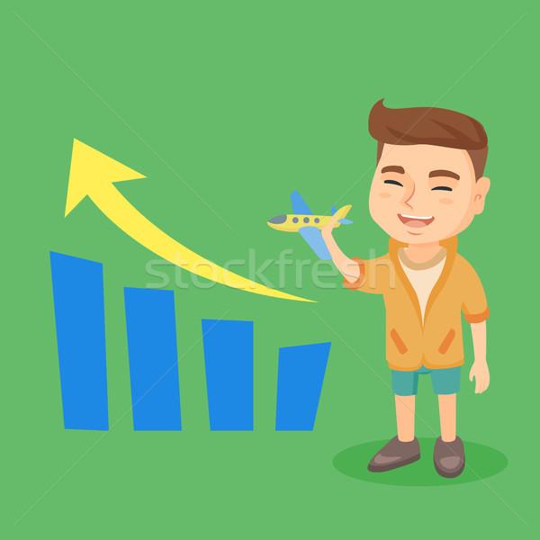 Kid vliegtuig business groei staafdiagram weinig Stockfoto © RAStudio
