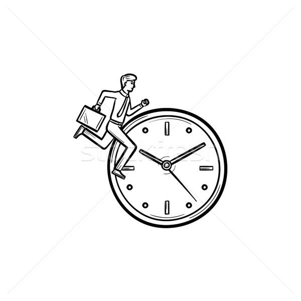Clock running hand drawn sketch icon. Stock photo © RAStudio