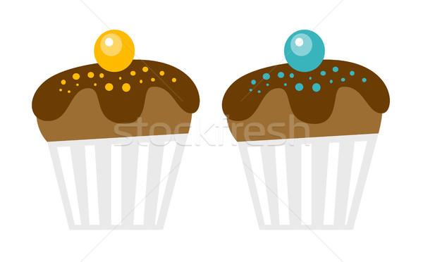 Chocolate muffins vector cartoon illustration. Stock photo © RAStudio