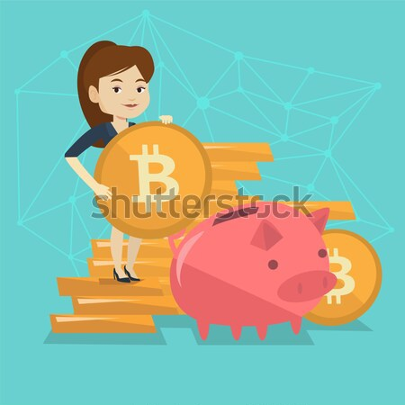 Business woman putting coin in piggy bank. Stock photo © RAStudio