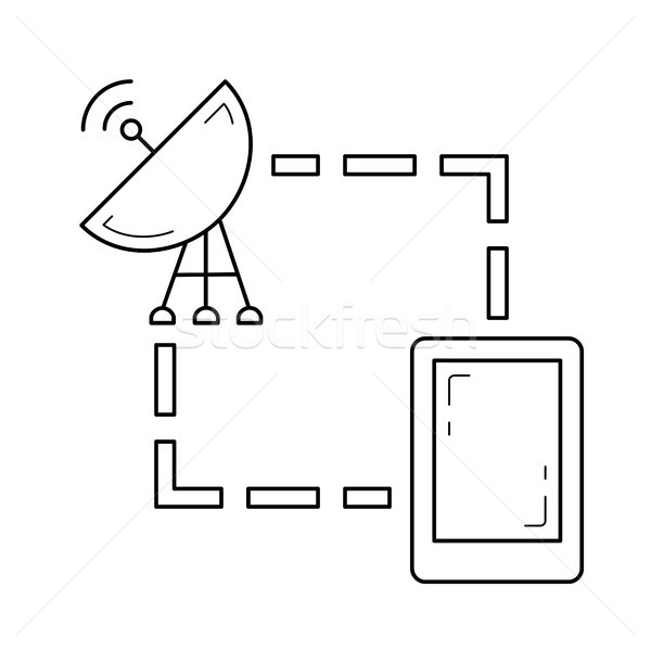 Navigator and satellite line icon. Stock photo © RAStudio