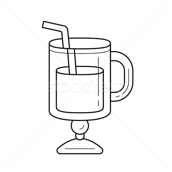 Glass with drinking straw vector line icon. Stock photo © RAStudio