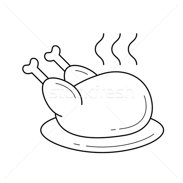 Stok fotoğraf: Pişmiş · tavuk · buhar · vektör · hat · ikon