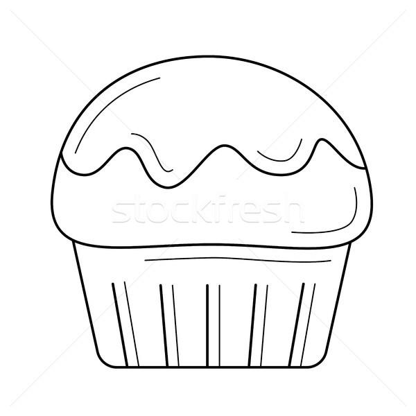 çörek vektör hat ikon yalıtılmış beyaz Stok fotoğraf © RAStudio