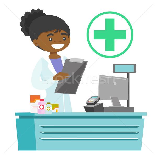 фармацевт Дать рецепт отмечает медицинской Сток-фото © RAStudio