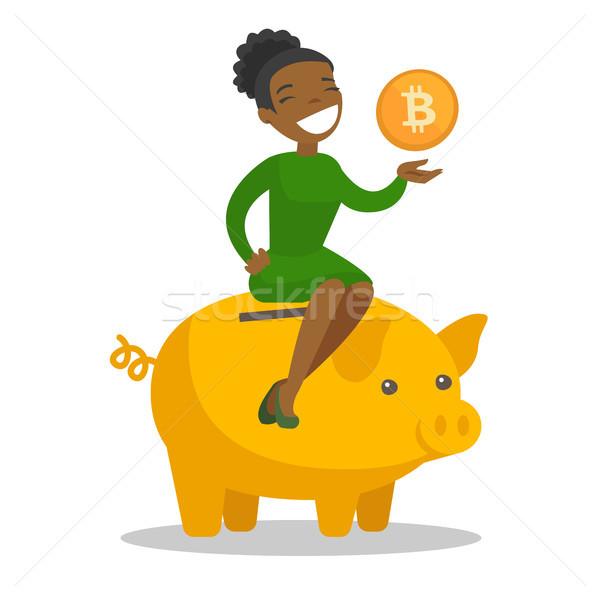 África gerente moneda alcancía jóvenes mujer de negocios Foto stock © RAStudio