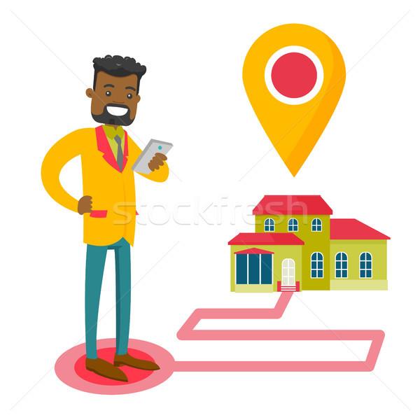 Agente immobiliare casa mappa smartphone mobile Foto d'archivio © RAStudio
