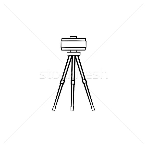 Theodolite on tripod hand drawn sketch icon. Stock photo © RAStudio