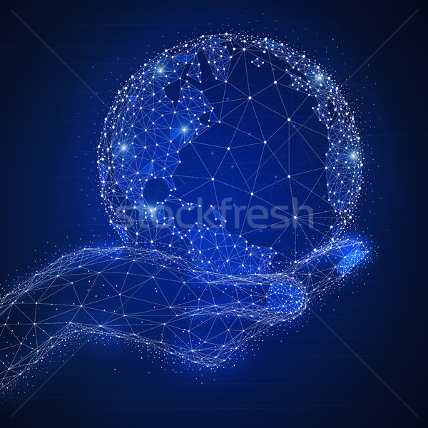 Blockchain technology futuristic hud banner with globe in a hand Stock photo © RAStudio