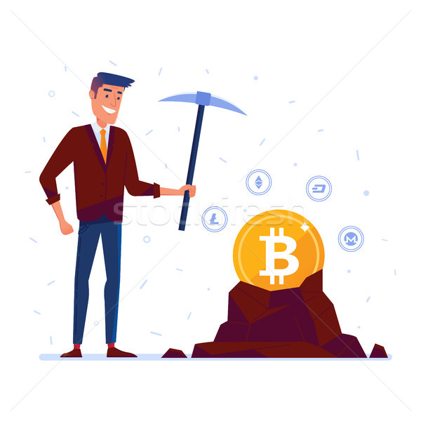 Caucasian man mining crypto currency coins Stock photo © RAStudio