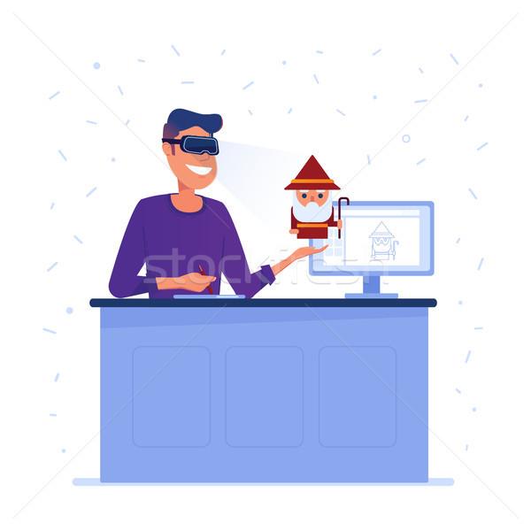 A caucasian game designer in VR headset. Stock photo © RAStudio