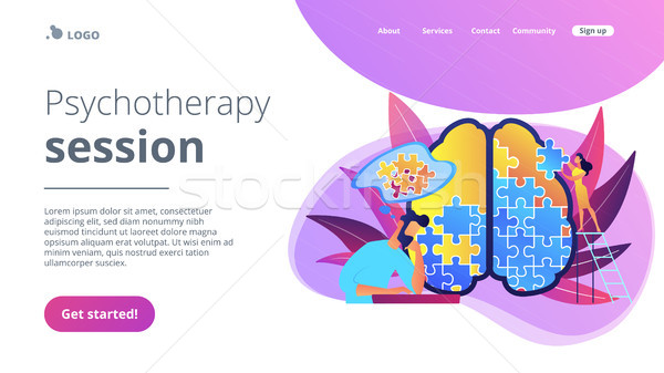 Psychotherapy session landing page vector illustration. Stock photo © RAStudio