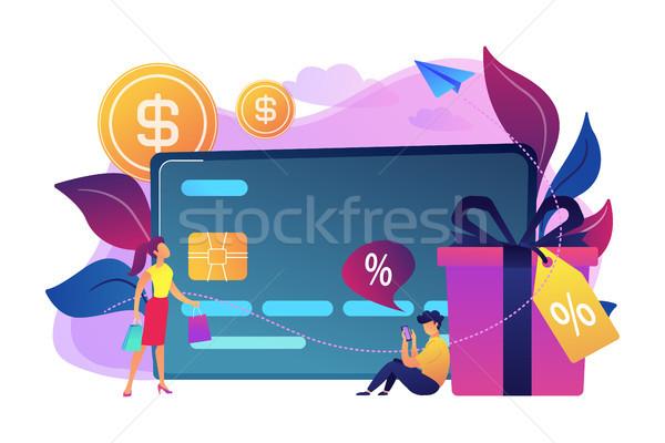 Carte de débit coffret cadeau utilisateurs ligne carte paiement Photo stock © RAStudio