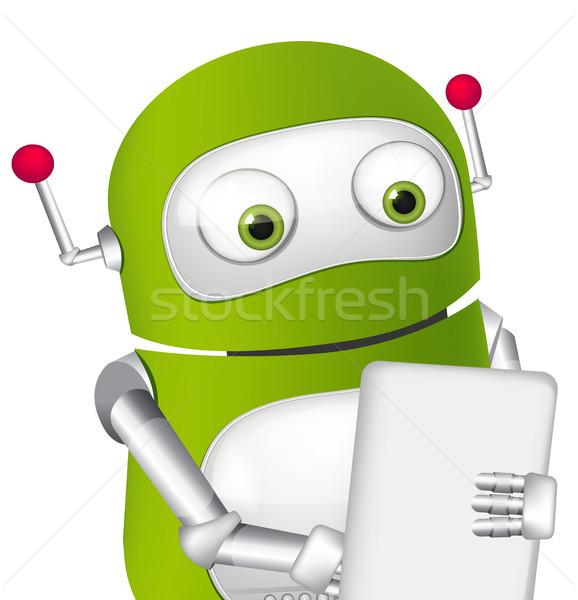 Sevimli robot tablet kullanıcı vektör Stok fotoğraf © RAStudio