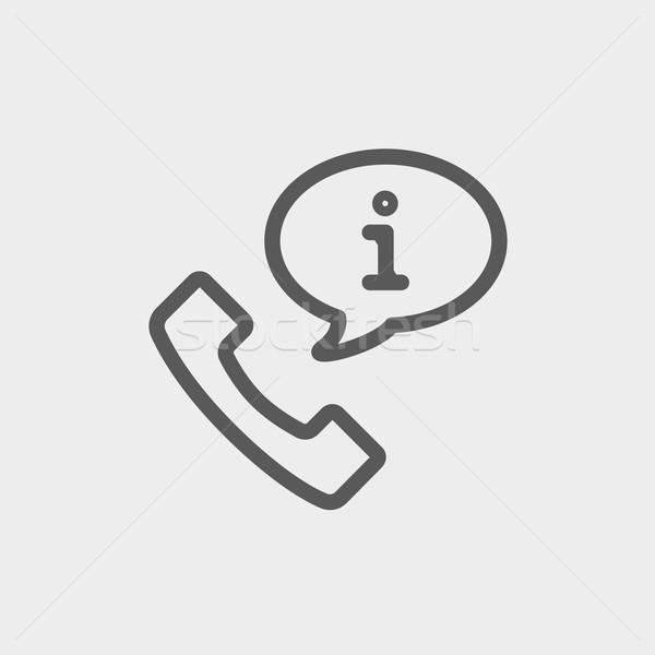 Talking by phone via internet thin line icon Stock photo © RAStudio