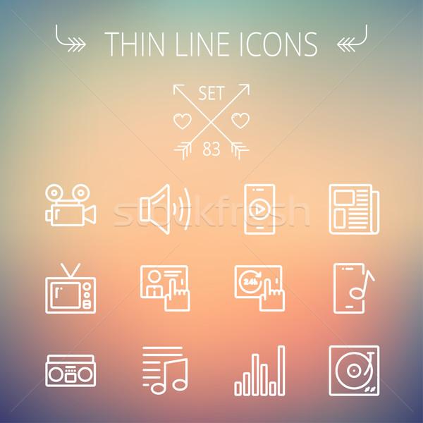 Multimedia thin line icon set Stock photo © RAStudio