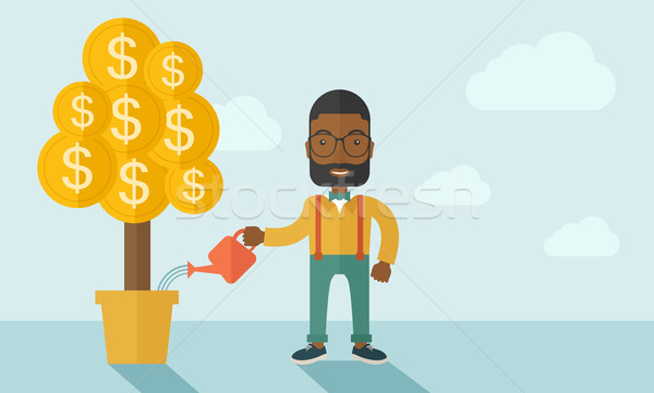 African businessman happily watering the money tree. Stock photo © RAStudio