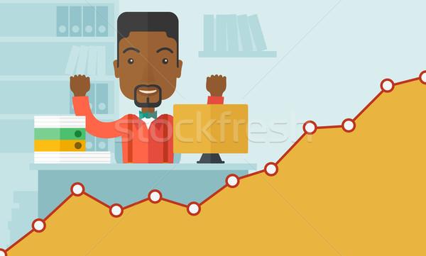 Boldog fekete üzletember mindkettő kezek ül Stock fotó © RAStudio