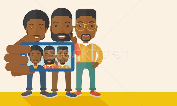 üç siyah erkekler mutlu Stok fotoğraf © RAStudio