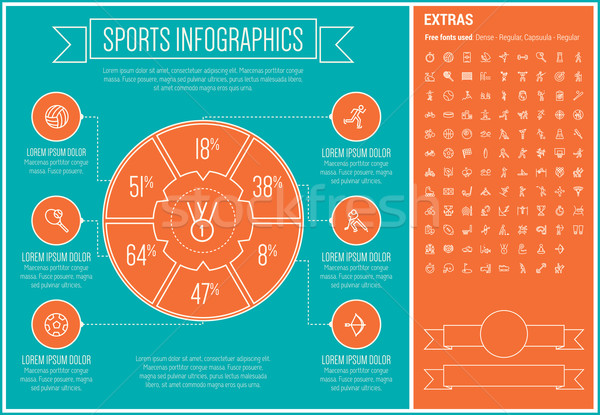 Sports Line Design Infographic Template Stock photo © RAStudio