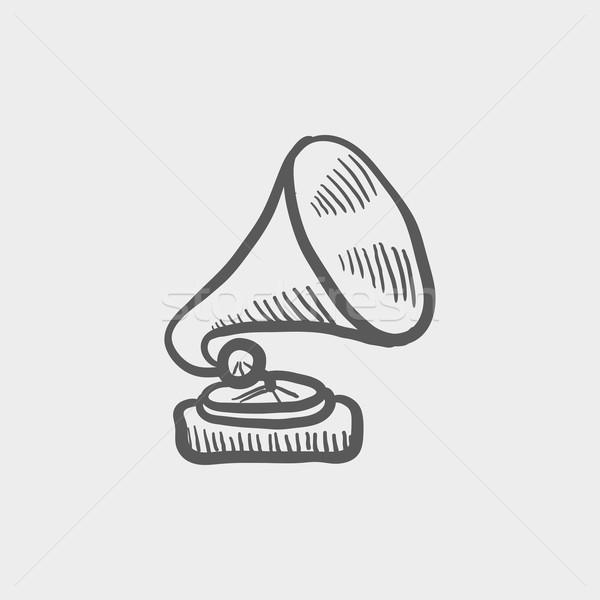 Gramofon kroki ikon web hareketli Stok fotoğraf © RAStudio