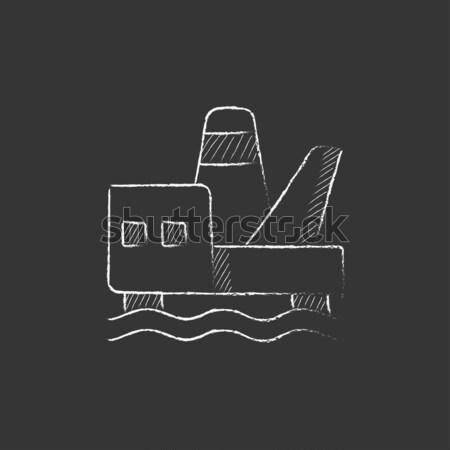 Offshore olaj vágány ikon rajzolt kréta Stock fotó © RAStudio
