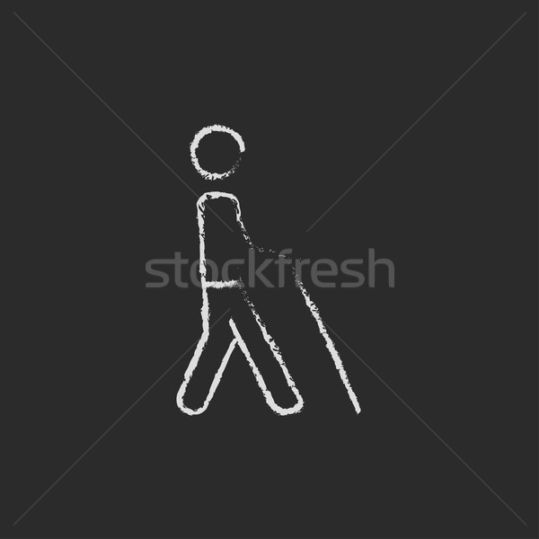 Ciego hombre palo icono tiza Foto stock © RAStudio