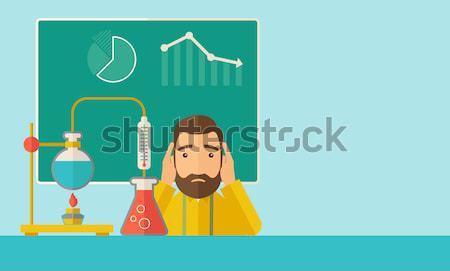 Foto stock: Laboratorio · trabajador · hombre · desesperación · sesión · mesa