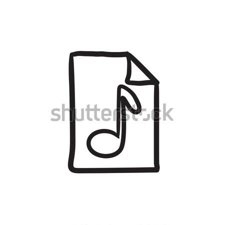 Musical note drawn on sheet line icon. Stock photo © RAStudio