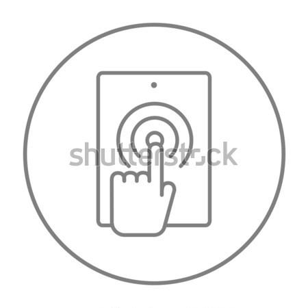 Finger touching digital tablet line icon. Stock photo © RAStudio