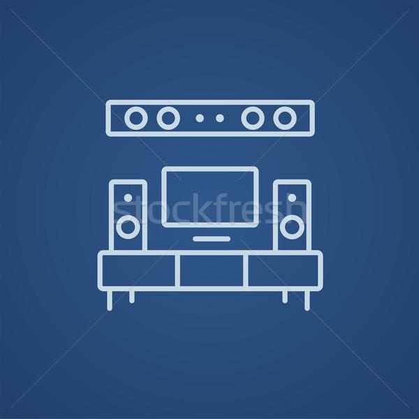 Foto stock: Tv · tela · plana · casa · teatro · linha · ícone