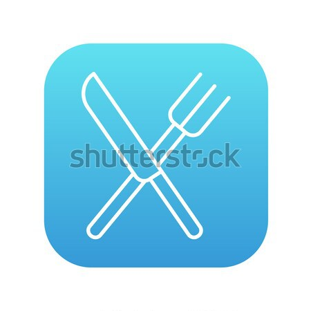 Stock photo: Knife and fork line icon.