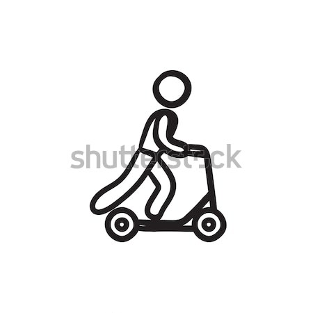 Man riding kick scooter line icon. Stock photo © RAStudio