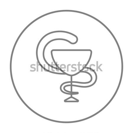 Gyógyszeripari orvosi szimbólum vonal ikon kígyó Stock fotó © RAStudio