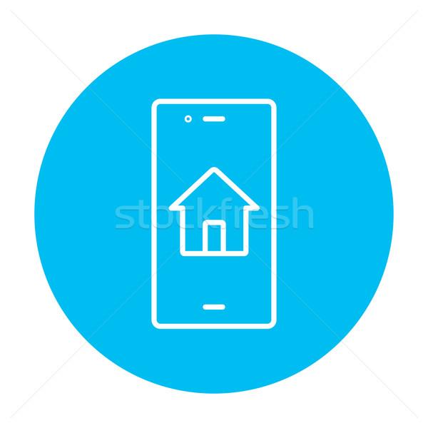 Property search on mobile device line icon. Stock photo © RAStudio