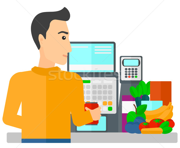 Cashier at supermarket checkout. Stock photo © RAStudio