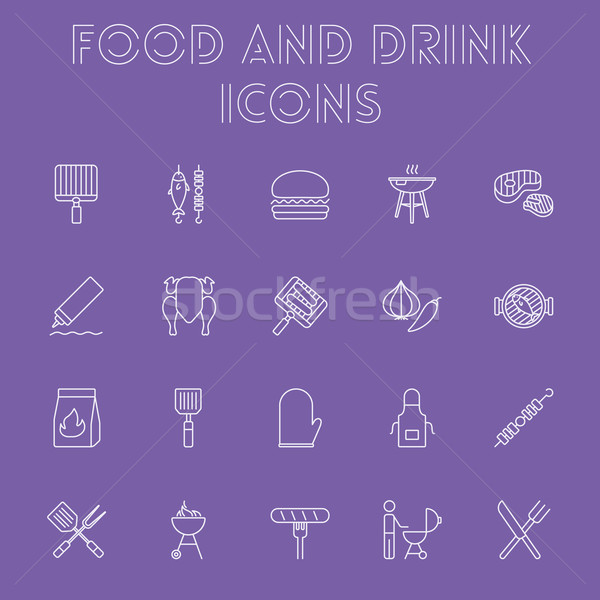 Food and drink icon set. Stock photo © RAStudio