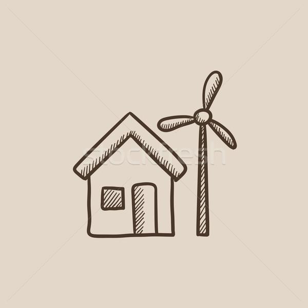 House with windmill sketch icon. Stock photo © RAStudio