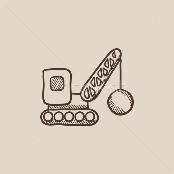 Demolition crane sketch icon. Stock photo © RAStudio