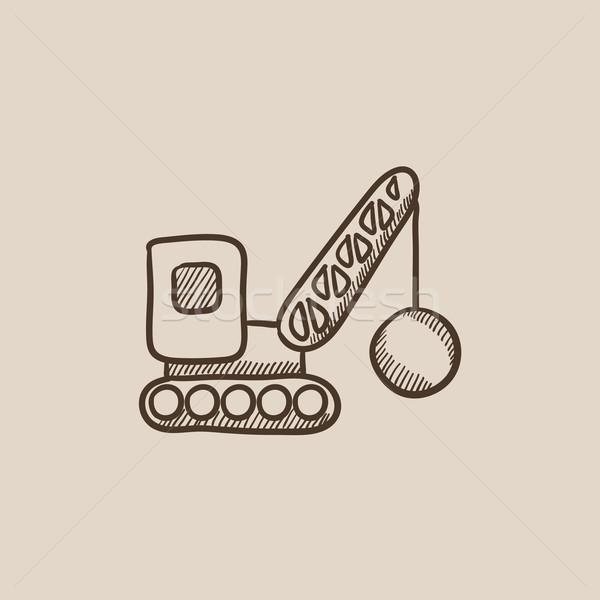 Yıkım vinç kroki ikon web hareketli Stok fotoğraf © RAStudio