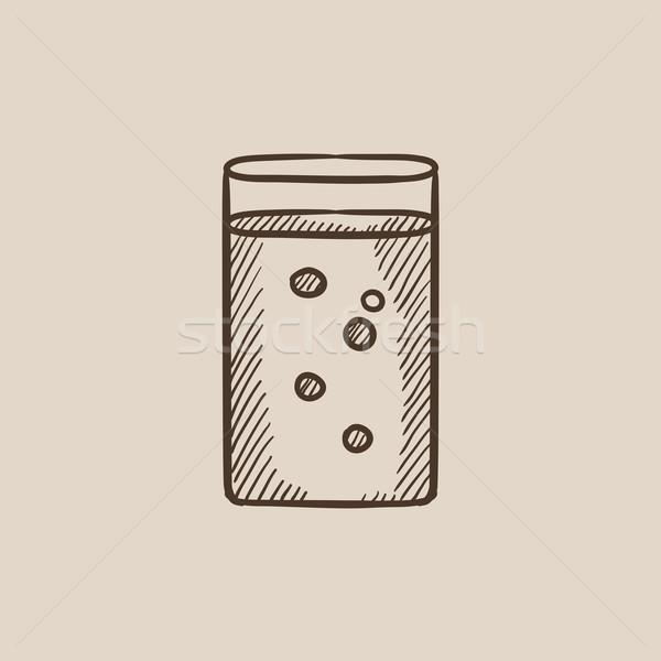 Glas water schets icon web mobiele Stockfoto © RAStudio
