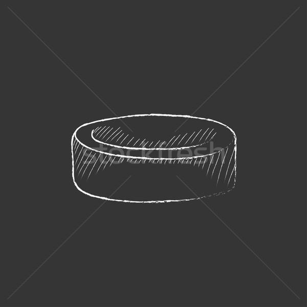 Hockey puck. Drawn in chalk icon. Stock photo © RAStudio